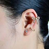 voordelige -Dames Oor manchetten Strik Luxe Strass Gesimuleerde diamant oorbellen Sieraden Gouden Voor Bruiloft Feest Dagelijks Causaal Sport