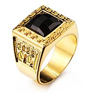 Herre Statement-ringe Ædelsten Sort Kærlighed Personaliseret kostume smykker Rustfrit Stål Akryl Guldbelagt 18K guld Firkantet form