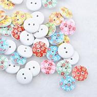 botones de madera diy floral costura Scraft bloc de notas (10 piezas color al azar)