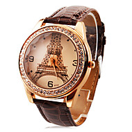 εξατομικευμένες μόδας των γυναικών ρολογιών πολυτελείας Eiffel Tower διαμάντι ζώνη PU