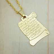 Men's Women's Pendants 18K Gold Plated Alloy Fashion Religious Jewelry For Daily Wear Muslim Koran Pendant