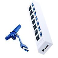 preiswerte USB Hubs & Switches-Superschneller 7-Port USB 3.0-Hub mit einzelnen Leistungsschalter und LEDs für MacBook Air, Tablette-PC (Farbe sortiert)