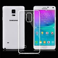 Недорогие Чехлы и кейсы для Galaxy Note-Кейс для Назначение SSamsung Galaxy Samsung Galaxy Note Ультратонкий Прозрачный Кейс на заднюю панель Сплошной цвет ТПУ для Note 4