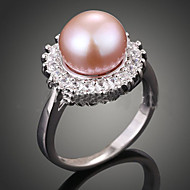billige -Dame uttalelse Ringe Luksus Mote Perle Imitert Perle Zirkonium Kubisk Zirkonium Rosa perle Legering Smykker Fest
