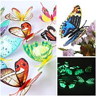3d emulational világító pillangó pvc falimatrica fal művészet matricák (véletlenszerű szín, 12 db egy sor)