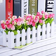 Rama Poliéster Plástico Tulipán Flor de Mesa Flores Artificiales