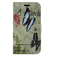 Для Кейс для  Samsung Galaxy Бумажник для карт / со стендом / Флип / С узором Кейс для Чехол Кейс для Бабочка Искусственная кожа SamsungS