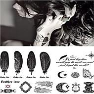 타투 스티커 - Non Toxic/허리 아래/Waterproof - 기타 - 아동/여성/남성/어른/Teen - 그레이/블랙 - 종이 - 1 - 14.5*9.5cm(5.71*3.74in) - Fashion Personality Sexy Feather