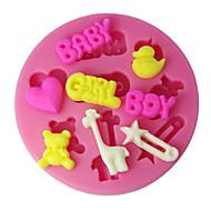 billiga Kök och matlagning-fyra c silikon cup cake mögel pojke flicka och baby sugarpaste mögel, fondant dekorera verktyg levererar färgen rosa