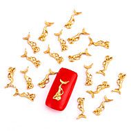 10PCS Gold Nail Art Jewelry Mermaid Fairy Aryclic Nail Tips Decorations Nail Art Glitters for Nails