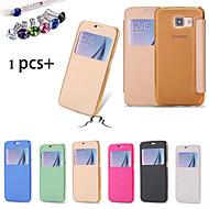Til Samsung Galaxy Etui med vindu Flipp Etui Heldekkende Etui Ensfarget PU-lær til Samsung S6