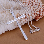Women's Pendant Necklace - Sterling Silver Cross Basic, Simple Style Necklace For Wedding, Party, Gift