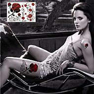 Seria kwiatowa Naklejki z tatuażem - Damskie/Męskie/Dorosły/Dla nastolatków - Sexy Rose - 21*14.5cm(8.3*5.7in) - Paper - Wielokolorowy -1
