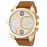 お買い得  -JUBAOLI 男性用 軍用腕時計 クォーツ ホット販売 レザー バンド ハンズ チャーム ファッション ホワイト ブラック