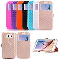 Недорогие Чехлы и кейсы для Galaxy S-Кейс для Назначение SSamsung Galaxy Кейс для  Samsung Galaxy Бумажник для карт / со стендом / с окошком Чехол Однотонный Кожа PU для S6