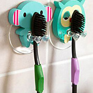 Wooden Cute Cartoon Animal Toothbrush Holder Suction Cup Bathroom Sets Hooks