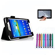 Для Кейс для  Samsung Galaxy со стендом / Флип Кейс для Чехол Кейс для Один цвет Искусственная кожа Samsung Tab 4 7.0