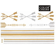 1PC الذهب والفضة سوار طويلة ملصقا الوشم 15x9cm