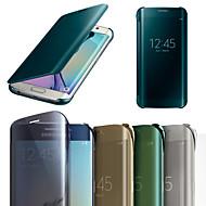 Недорогие Чехлы и кейсы для Galaxy S-оригинальное зеркало экран лицо кожаный чехол крышка смарт-флип для Samsung Galaxy S6 край