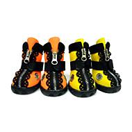 Недорогие Бижутерия и аксессуары для собак-Собака Ботинки и сапоги Водонепроницаемый Однотонный Оранжевый Желтый Для домашних животных