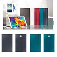 olcso Galaxy Tab S 8.4 tokok-Case Kompatibilitás Tab S 8.4 Samsung Galaxy Samsung Galaxy tok Állvánnyal Flip Origami Héjtok Tömör szín PU bőr mert