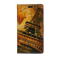 Недорогие Чехлы и кейсы для Galaxy J-Для Кейс для  Samsung Galaxy Бумажник для карт / Кошелек / со стендом / Флип Кейс для Чехол Кейс для Эйфелева башня Искусственная кожа