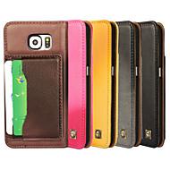 Для Кейс для  Samsung Galaxy Бумажник для карт / со стендом / Флип Кейс для Чехол Кейс для Один цвет Натуральная кожа Samsung S6