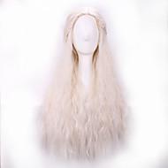 Недорогие Парики из искусственных волос-жен. Парики из искусственных волос Без шапочки-основы Длиный Волнистые Белый Прямой пробор Парик с косичками Парик для Хэллоуина