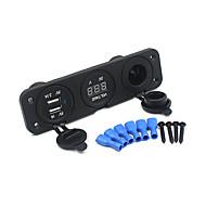 Недорогие Автомобильные зарядные устройства-тройной 3.1 ампер USB зарядное устройство + вольтметр +12 Разъем панели Разъем морской выход