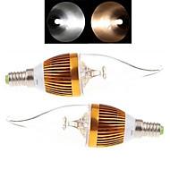 2 db. Ding Yao E14 9 W 3LED COB 150-250 LM 2800-3500/6000-6500 K Meleg fehér/Hideg fehér Gyertya AC 85-265 V