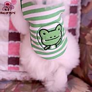 お買い得  -ネコ 犬 Tシャツ 犬用ウェア 縞柄 カートゥン グリーン コットン コスチューム ペット用 コスプレ 結婚式