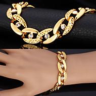 ieftine -Bărbați Diamant sintetic Brățări cu Lanț & Legături Bratari Vintage Figaro lanț chunky Solitaire Declarație femei Personalizat Modă Dubai Ștras Bijuterii brățară Argintiu / Auriu Pentru Cadouri de