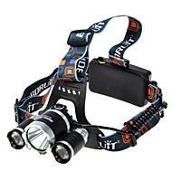 Boruit® T6 Hoofdlampen Koplamp LED 1800 lumens lm 4.0 Modus Cree XM-L T6 Super Light Kamperen/wandelen/grotten verkennen Zwart