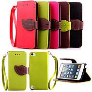 billige -høy kvalitet lommebok kortholderen PU lær flip tilfellet dekke for ipod touch 5 (assorterte farger)