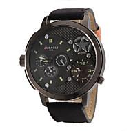 お買い得  -JUBAOLI 男性用 軍用腕時計 クォーツ 2タイムゾーン 生地 バンド ハンズ ブラック / レッド / グリーン - レッド グリーン カーキ色