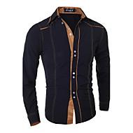 남성용 솔리드 스프레드 카라 슬림 베이직 - 셔츠, 사업 작동 면 / 긴 소매 / 봄 / 가을