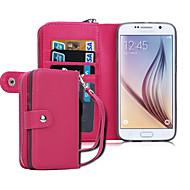 お買い得  Samsung 用 ケース/カバー-ケース 用途 Samsung Galaxy Samsung Galaxy ケース ウォレット フルボディーケース 純色 PUレザー のために S8 Plus S8 S6 edge S6
