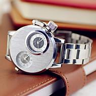 お買い得  -V6 男性用 軍用腕時計 2タイムゾーン ステンレス バンド シルバー