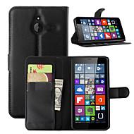 お買い得  携帯電話ケース-ケース 用途 ノキアLumia 540 ノキアLumia 640 Nokia ノキアLumia 730 Nokiakケース カードホルダー ウォレット スタンド付き フルボディーケース 純色 ハード PUレザー のために Nokia Lumia 640 XL