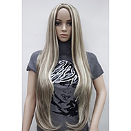 New Women's Long ladies brown Blonde Mix Natural Hair full wigs Skin Part Top