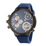 お買い得  -JUBAOLI 男性用 軍用腕時計 クォーツ シリコーン バンド ハンズ ブラック / ブルー / レッド - ブラック レッド ブルー