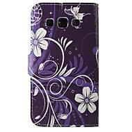 paarse bloemen pu lederen full body case voor Samsung Galaxy grand / grand neo i9060 / kern prime / grand prime / kern plus