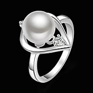 여성 문자 반지 패션 의상 보석 펄 모조 큐빅 은 도금 모조 다이아몬드 보석류 제품 파티