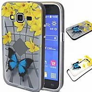 Для Кейс для  Samsung Galaxy Защита от удара / Полупрозрачный / С узором Кейс для Задняя крышка Кейс для Бабочка TPU SamsungGrand Prime /