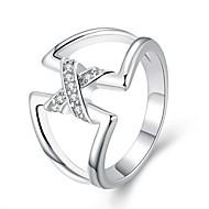 Dame uttalelse Ringe Mote Enkel Stil Europeisk kostyme smykker Sølvplett Geometrisk Form Smykker Til Fest