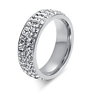 ieftine -Pentru femei Band Ring femei Modă Oțel titan Inele la Modă Bijuterii Argintiu Pentru Nuntă Petrecere Zilnic Casual 6 / 7 / 8 / 9 / Ștras