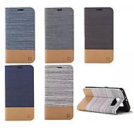 Недорогие Чехлы и кейсы для Galaxy S6 Edge Plus-Кейс для Назначение SSamsung Galaxy Кейс для  Samsung Galaxy Бумажник для карт Кошелек со стендом Флип Чехол Полосы / волосы Кожа PU для
