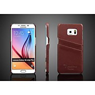 Недорогие Чехлы и кейсы для Galaxy S6 Edge Plus-Кейс для Назначение SSamsung Galaxy Кейс для  Samsung Galaxy Бумажник для карт Кейс на заднюю панель Сплошной цвет Настоящая кожа для S6