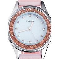 お買い得  -SINOBI 女性用 ファッションウォッチ カジュアルウォッチ フロートクリスタル腕時計 クォーツ 耐水 シリコーン バンド ピンク