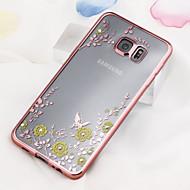 Для Кейс для  Samsung Galaxy Стразы / Покрытие / Прозрачный Кейс для Задняя крышка Кейс для Цветы TPU Samsung S6 edge plus / S6 edge